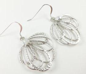 Silver Feather Earrings Metal Filigree Earrings Sterling Silver Earwires