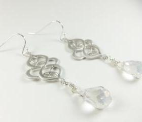Long Dangle Earrings Sterling Silver Filigree Clear Crystal Drop Earrings