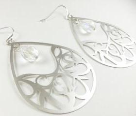 Clear Crystal Jewelry Teardrop Earrings Silver Dangle Earrings Teardrop Filigree